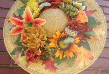 sombrero del otoño con las manos de diferentes materiales
