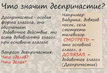 Powrót gerund. Rodzaje gerunds w języku rosyjskim