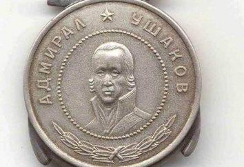 Medalla Ushakov: historia de la creación y descripción