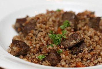 secretos culinarios. gachas de alforfón con la carne en la olla