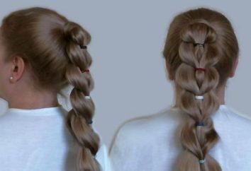 Spit ogonów z gumek – System tkania. Fryzury z długimi włosami gumek na