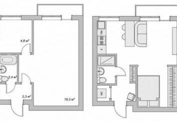 Disposición apartamentos de 2 habitaciones: fotos, el circuito