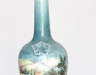bottiglia Decoupage Natale. Master-class a fare bella souvenir