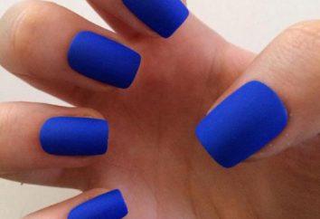 Matt blu manicure: chiodo di disegno