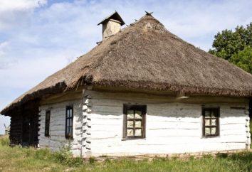 A decoração externa e interna cabana russo