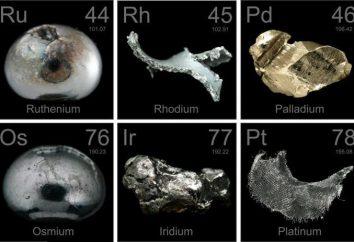 Die Metalle der Platingruppe: eine Überprüfung der Liste, Eigenschaften und Anwendungen