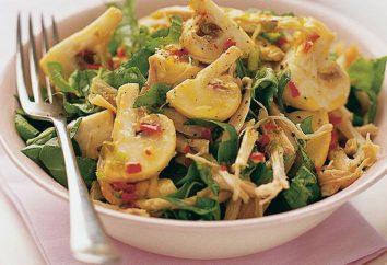 Insalata con i funghi e pollo affumicato: variazioni di ricette e raccomandazioni