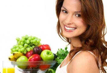 Tabela de nutrição adequada e conteúdo calórico de produtos