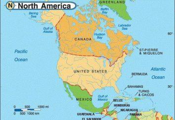 Los países más grandes de América del Norte y sus capitales. EE.UU., Canadá, México