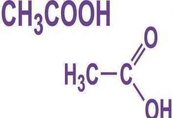 Proprietà fisiche di acido acetico, la formula