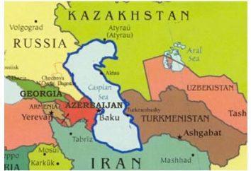 Caspian afirma: tarjeta de frontera. ¿Qué país es bañada por el Mar Caspio?