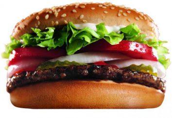 """Rede """"Burger King"""" – caloria e composição de pratos principais"""