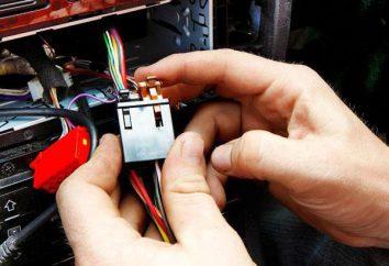 Condução conectividade carro. O circuito de ligação de um subwoofer para o seu carro. aconselhamento profissional