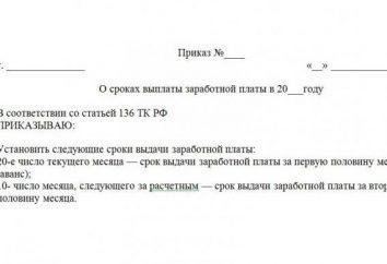 Ordre sur le moment du paiement des salaires: l'échantillon et les règles de rédaction du document