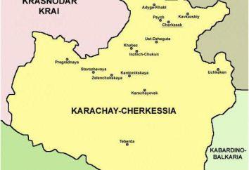 La capitale de Karatchaïévo-Tcherkessie. Karatchaïévo-Tcherkessie sur la carte