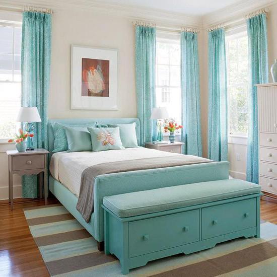 Schlafzimmer In Türkis Farben: Tapeten, Möbel, Accessoires