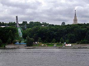 Sparrow Hills in Moskau. Tempel auf den Sperlingsbergen