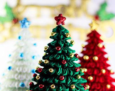 Albero Di Natale Kanzashi.Bella Albero Di Natale Kanzashi Dai Nastri Di Raso