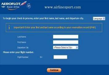 """Aeroflot"": check-in online"