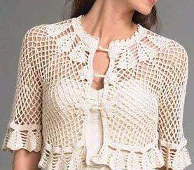jaqueta curta com mangas curtas: métodos de tricô, foto, circuitos