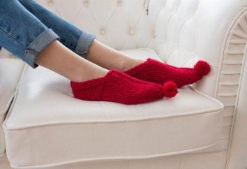 Selas com agulhas de tricô: modelos com descrição. Chinelos de casa quentes: esquemas