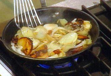 Como fritar batatas em uma frigideira com cebolas, cogumelos ou carne?