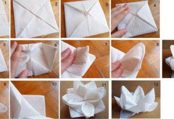 Wir tun Origami Servietten auf dem Tisch