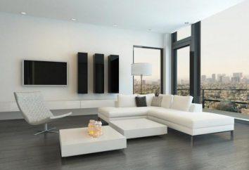 Pokój w stylu minimalizmu: meble, zasłony, lampy