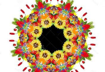 Geometrische Muster in einem Kreis: Beschreibung. Floral-Design in einem Kreis