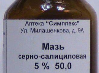 sulfurique-salicylique pommade. Description de la préparation, les indications d'utilisation