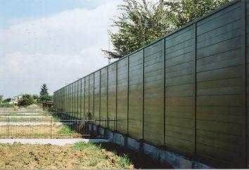 Applications d'écran d'insonorisation. Murs anti-bruit sur les routes
