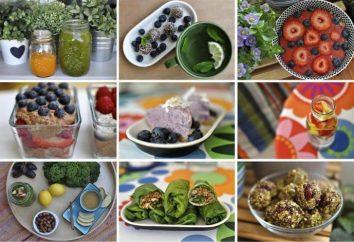 Régime alimentaire. Les aliments crus: Le menu de la semaine