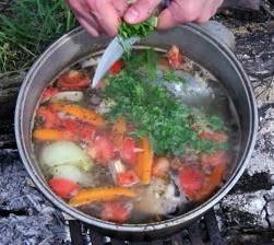 Wie man kocht Suppe auf dem Feuer von frischem Barsch oder Zander