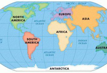 Les océans et les continents, leur nom, l'emplacement sur la carte