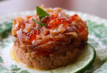Comment préparer une salade avec le caviar et le saumon dans différentes variations
