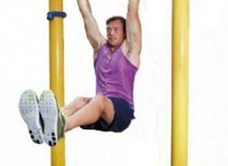 Brzucha ćwiczenia na poziomym pasku i poręczach