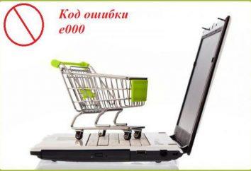 E000 code d'erreur lors du paiement par carte. Options pour résoudre le problème