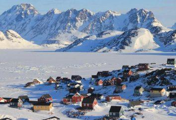 La région du Groenland, le climat, la population, la ville, drapeau