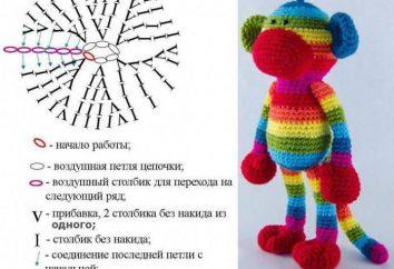Affe Hook: Schema und Beschreibung. Gestrickte Spielzeug Affen
