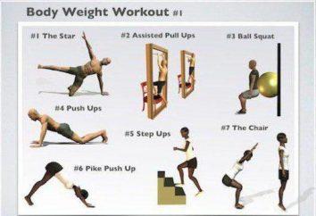 Esercizio con il proprio peso a casa. Una serie di esercizi con un peso corporeo per gli uomini e le donne