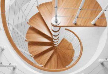 Eine Wendeltreppe: die Größe, Design, Installation, Materialien
