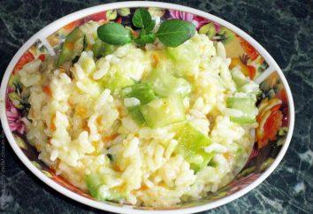 Risotto z cukinią, pomidorami i innymi składnikami. Kilka odmian potraw