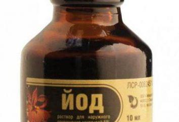 Alkoholowy roztwór jodu: użytkownika i aplikacji