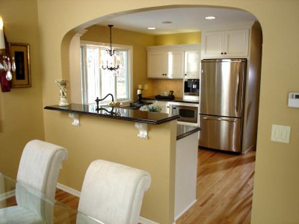 La partizione tra la cucina e soggiorno - soluzione alla moda