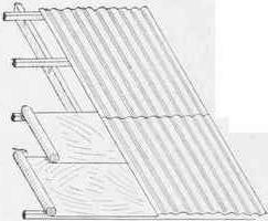 Bau des Daches. Das Dach ist aus Wellpappe