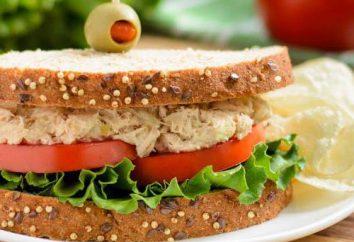 Sandwiches au thon: recettes