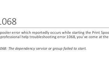Błąd 1068: Nie można uruchomić usługi zależności lub grupy