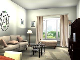 Criar interior da sala de estar com as mãos