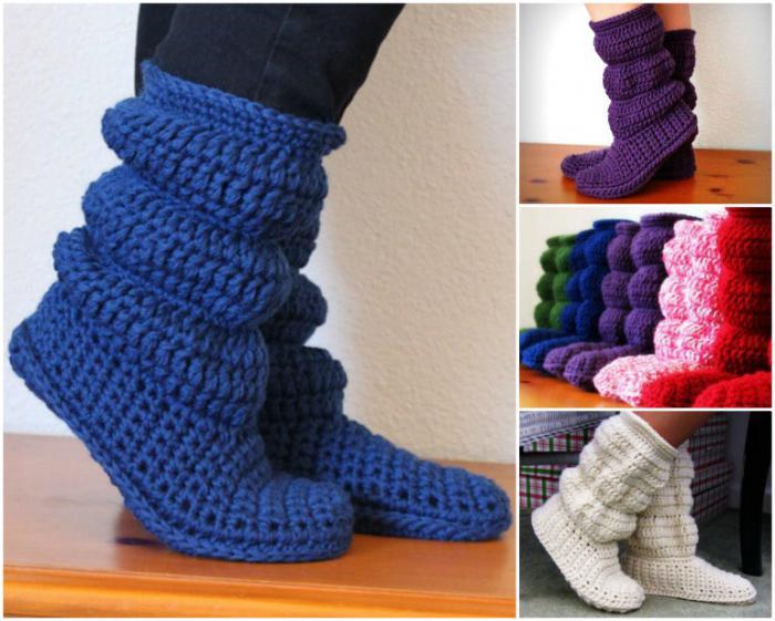 Stiefel häkeln: das Schema. Crochet Stiefel: Master Class