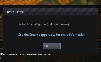 """Problema: """"No se puede iniciar el juego: Error desconocido"""""""